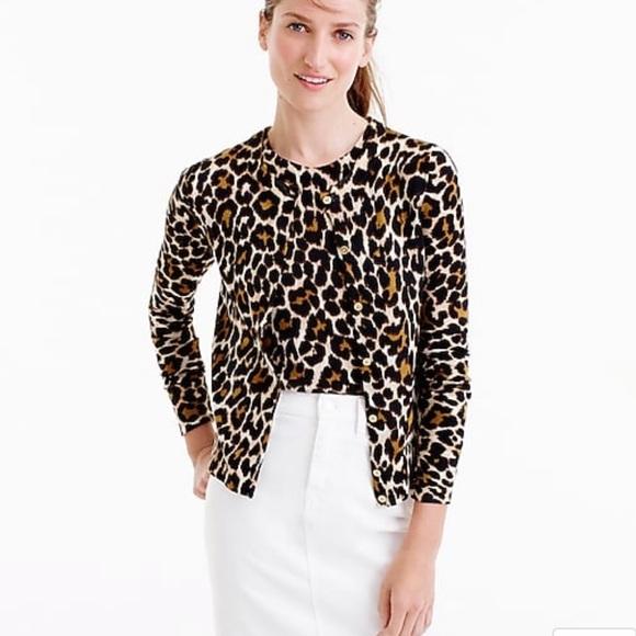 d240da1f41 J. Crew Sweaters - Lightweight wool Jackie cardigan sweater leopard